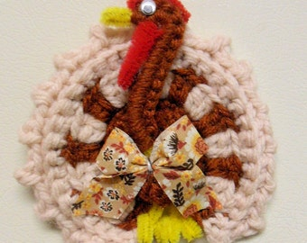 Thanksgiving Crochet Turkey,Refrigerator Magnet, Gift Topper, Baby Mobil, Hand made bird, FREE SHIPPING