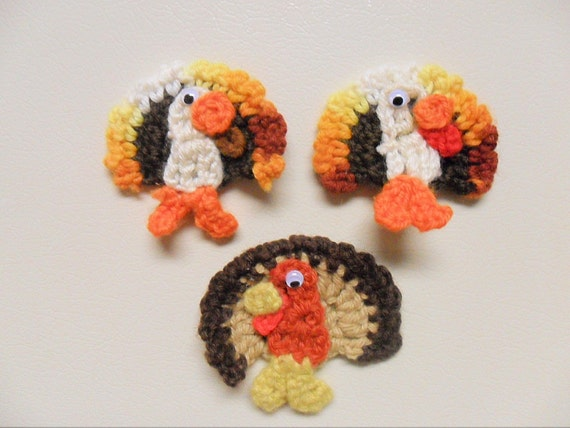 Turkey Crochet Thankgiving, Magnets, Gift toppers, Decorations