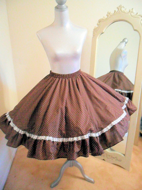 Square Dance Circle Skirt, Chocolate Brown, Rockabilly, 80's, Vintage
