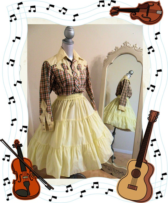 Western Square Dance Costume, Rockabilly,Yellow and Brown Plaid, Blouse and Circle Skirt