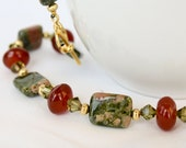 Red Carnelian and Unakite Necklace, Crystal and Gemstone