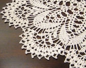 natural beige crocheted lace doily