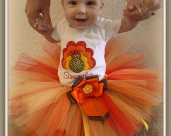 Turkey Tutu Outfit- 1st Thanksgiving- Custom Embroidery