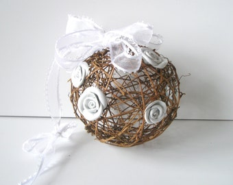 Flower Pomander - Kissing Ball - White Leather Rose  Rustic Pomander - Pew decoration -Year Round