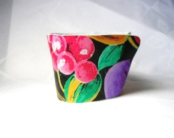 Pink  Green Violet  Fruit Coffee Cup Cozy Sleeve Leather
