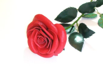 3rd anniversary gift -Classic Red Rose  Single Stem  Flower Leather  bouquet  Wedding - Long Stem Flower Valentines Day