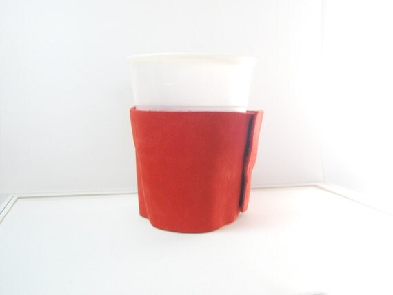 Coffee Cup Cozy Sleeve  Red Leather