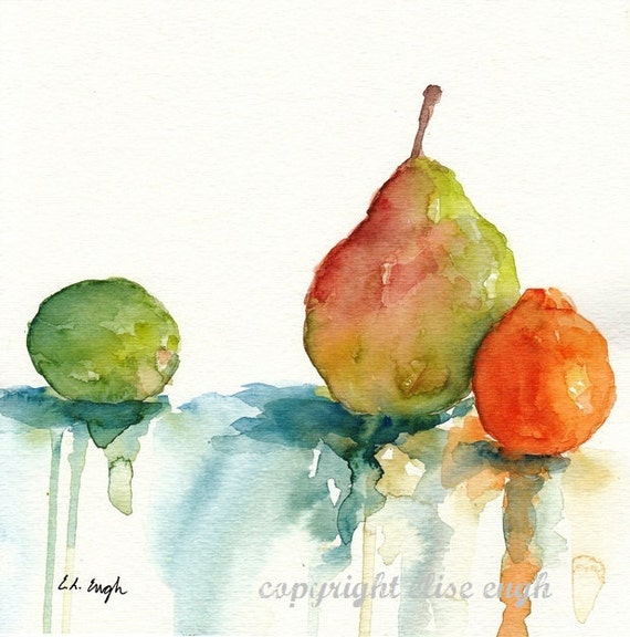 Watercolor Fruit Still Life, 8 x 8