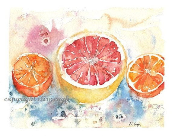 Watercolor Fruit Still Life, 8x10