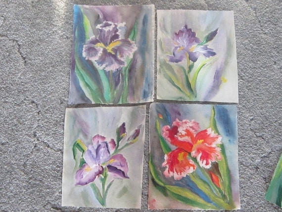"""Iris Fabric Paintings 8""""x 10"""" for Quilt Motifs"""