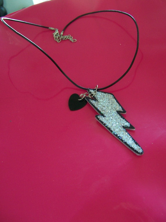 Glitter Lightening Bolt and Heart Charm Necklace Choker Retro Rocker