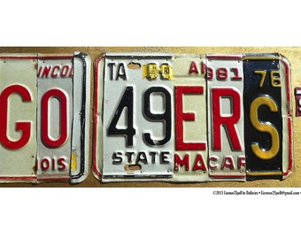 GO 49ERS -- POSTER -- limited edition custom recycled license plate art sign POSTER by LICENSE2SPELL