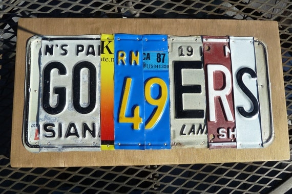 GO 49ERS -- custom recycled license plate art sign by LICENSE2SPELL