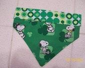 Hand-Made Reversible Dog Bandana, 2-Sided, St. Patrick's Day, Irish, Snoopy, Shamrocks, Over the Collar, Size Medium