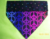 Hand-Made Reversible Dog Bandana, 2-Sided, Over the Collar, Peace Signs, Peace and Love, 60's Retro, Hearts, Size Small