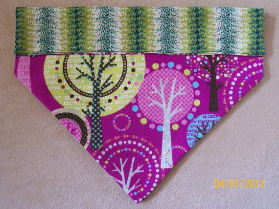 Hand-Made Reversible Dog Bandana, 2-Sided, Over the Collar, Earth Day, Green Planet, Save a Tree, Recycle, Size Medium