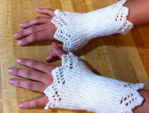 White Lace Edged Wrist Warmers