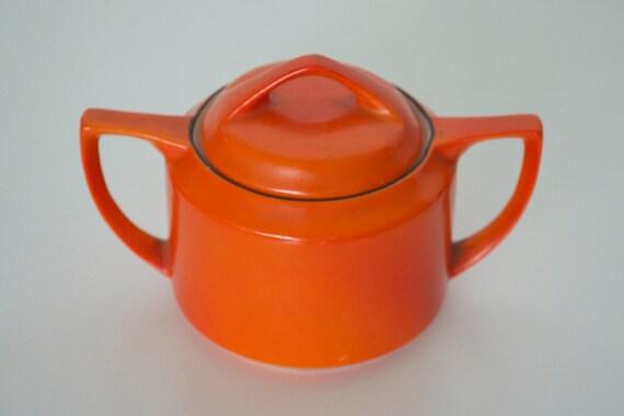 Orange sugar bowl Okwan China Hand painted