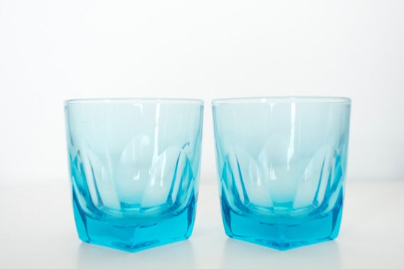 Vintage blue whisky glasses Barware - set of 4
