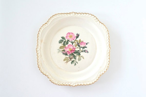 Porcelain plate by Harker Pottery in Wild Rose pattern