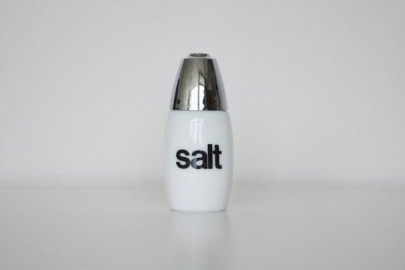 Vintage salt shaker Helvetica milk glass 1970s
