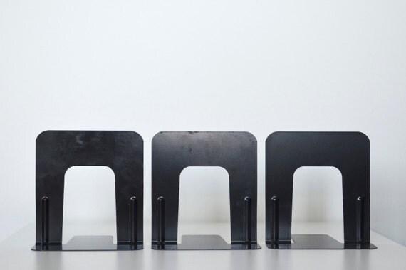 Metal industrial bookends black - set of 3