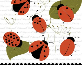 clip art ladybug digital red and black bug clipart, garden theme : c0216 x301