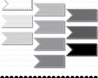 Gray Ribbon digital clip art, digital frame, flag scrapbooking, banner, grayscale, black, white stitches : c0099 & v001