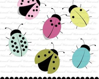 Clipart ladybug clip art spring graphics, cute scrapbook aqua pink green : c0216 3s03