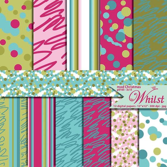 Polka dots digital paper Modern digital scrapbooking dots pink blue and green : p0165 & 3s15
