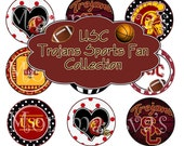 Momma Eva's -- INSTANT DOWNLOAD / USC Trojans Sports FaN Inspired Collage  / 4 x 6  / 1 in Circles /  Bottle Caps Hair Bows