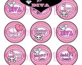Momma Eva's -- Daddy AnD Mommy's Sassy Lil DiVa Inspired Collection / 4 x 6  / 1 in Circles /  Bottle Caps Scrapbooking Hair Bows