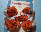 Momma Eva's -- Basketball Rocks Boutique Hair Bow // Medium 3 inch Style //  Ready To SHiP
