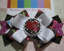 Momma Eva's -- Cutie Hootie Owl Sparkling Layered Boutique Hair Bow Design //  3.5 inch // Bow Is Ready To SHIP