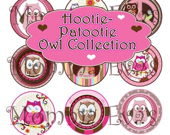 Momma Eva's -- INSTANT DOWNLOAD / Hootie Patootie Owl Inspired Collection / 4 x 6  / 1 in Circles /  Bottle Caps Scrapbooking Hair Bows