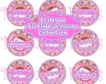 Momma Eva's -- Princess Birthday Crowns Collection / 4 x 6  / 1 in Circles /  Bottle Caps Scrapbooking Hair Bows / INSTANT DOWNLOAD