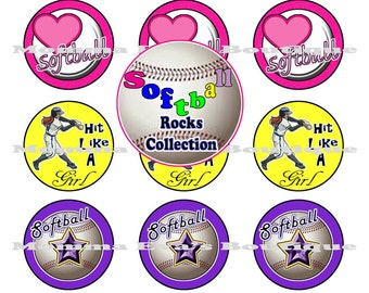 Momma Eva's -- INSTANT DoWNLOAD / Softball Rocks Collection (001)  / 4 x 6  / 1 in Circles /  Bottle Caps Hair Bows / Shop SALE on IMAGES