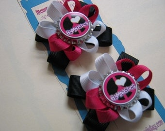 Momma Eva's -- Peace Love Gymnastics Pig Tail Perfect Hair Bow Set //  2.5 inch style //  Ready To Ship