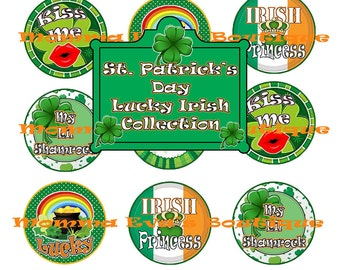 Momma Eva's --  INSTANT DOWNLOAD / St. Patrick's Day Lucky Irish Collection (002) /4 x 6  / 1 in Circles /Bottle Caps Scrapbooking Hair Bows