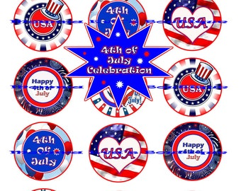 Momma Eva's --  INSTANT DOWNLOAD / 4th Of July Celebration CollecTioN /  / 4 x 6  / 1 in Circles /  DIY / Bottle Caps / Pendants