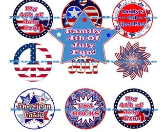 Momma Eva's -- Family 4th Of July FuN CollecTioN /  / 4 x 6  / 1 in Circles /  DIY / Bottle Caps / Pendants