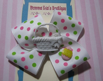 Momma Eva's -- One-Of-A-Kind Easter Basket And Egg Hair Bow //  3.5  inch Design // Ready To Ship