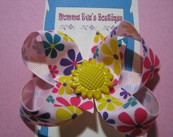 Momma Eva's -- My Precious Sunflower Boutique Hair Bow // Medium 3.5 inch Style //  Ready To SHiP