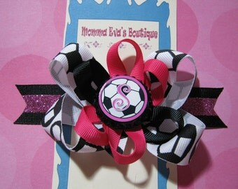 Momma Eva's -- PERSONALIZED Soccer Layered Boutique Hair Bow Design //  4.5 inch // Bow Is Ready To SHIP