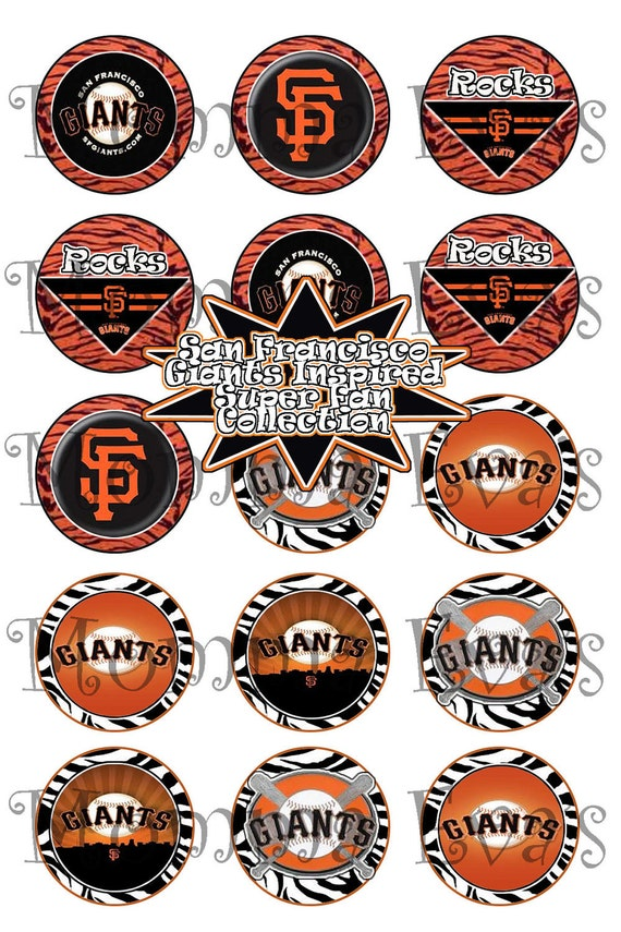 Momma Eva's -- INSTANT DOWNLOAD / SF Giants Wild Super Fan Inspired Collection / 1 in Circles / Make Bottle Caps Scrapbooking Hair Bows