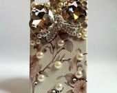 Floral iPhone Bling Rhinestone Phone Case Jewel Bow iPhone 4/ 4S Retro Floral Tan