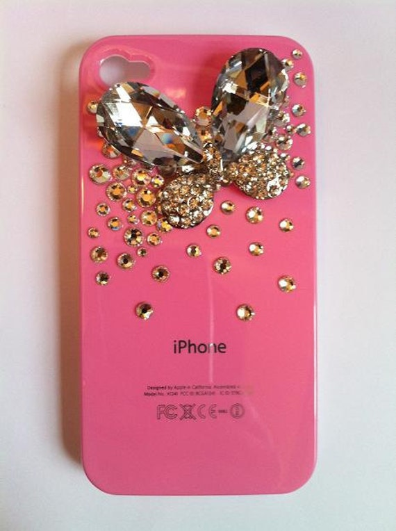 Bling Rhinestone Pink Phone Case Butterfly Bow Phone case iPhone 4/ 4S