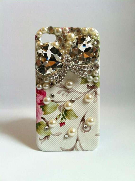 Bling Rhinestone Phone Case Jewel Bow iPhone 4/ 4S Retro Floral White Red