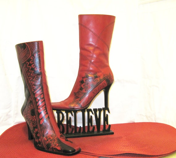 Hand Illustrated Leather boots, Women's Size 6 1/2