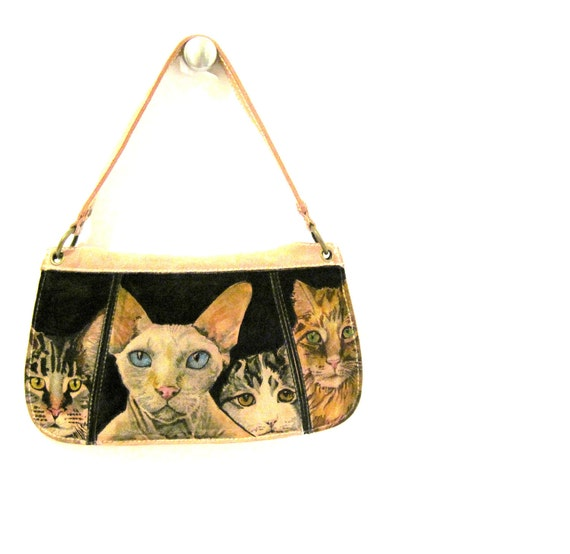 Hand Painted Suede Purse - pink cats